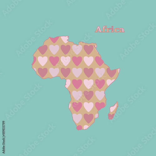 Outline map of Africa with a texture of pink and red heart. Isolated vector illustration on  blue background . - 189833799