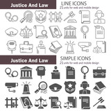 Set of simple and line universal justice and law flat icons for web and mobile design - 189847977