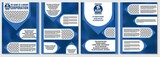 blue brochures selection for presentations of goods and services