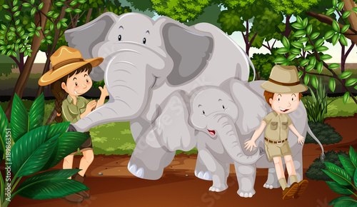 Foto op Aluminium Beige Two elephants and kids in the woods