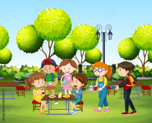 Foto op Canvas Lime groen People eating in the park at daytime