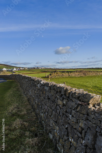 Foto op Canvas Grijze traf. Dry Stone Wall, Gower, Wales, UK