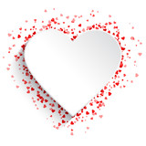 White heart background with red hearts - 189867927