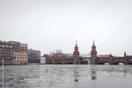 Staande foto Stockholm oberbaumbridge over spree river in Berlin city