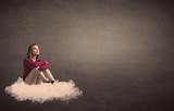 Woman sitting on a cloud with plain bakcground - 189884365