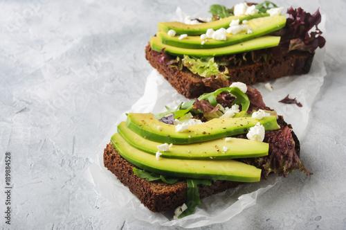Bruschettas with avocado, mix salad, cottage cheese