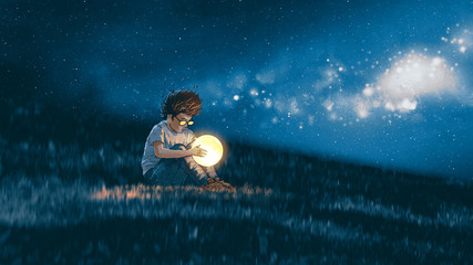 night scene showing young boy with a little moon in his hands sitting on meadow, digital art style, illustration painting © grandfailure