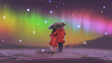 couple in red coat under an umbrella walking on snow looking at Northern light in the sky, digital art style, illustration painting - 189886794