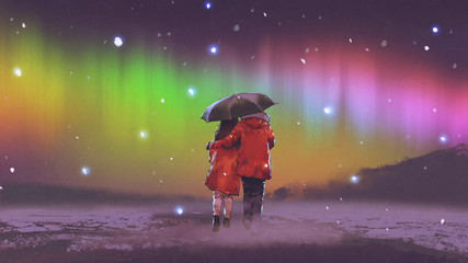 couple in red coat under an umbrella walking on snow looking at Northern light in the sky, digital art style, illustration painting © grandfailure