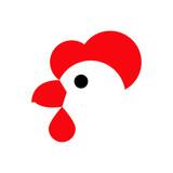 Logotipo cabeza de gallina en fondo blanco - 189887390