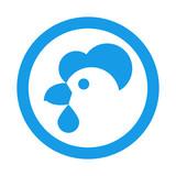 Icono plano cabeza de gallina en circulo color azul - 189890319