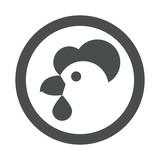Icono plano cabeza de gallina en circulo color gris - 189890326