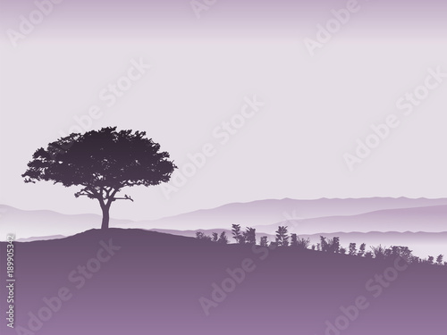 Tuinposter Lavendel Tree landscape