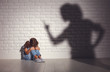 Leinwanddruck Bild - domestic violence. angry mother scolds   frightened daughter .