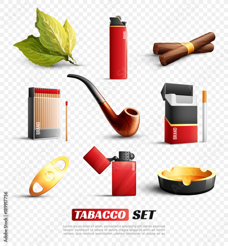 Tobacco Products Transparent Background Set