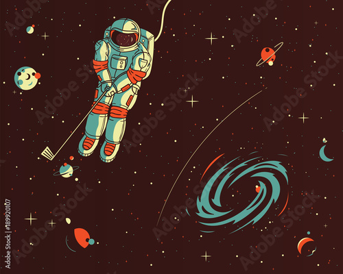 Playing golf wih the stars vector illustration