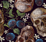 Classical embroidery blossoming plum and human skull. Embroidery plums branch seamless pattern template fashionable clothes, t-shirt design - 189921314