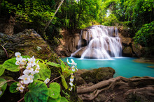 Waterfall in Thailand, called Huay or Huai mae khamin in Kanchanaburi Provience
