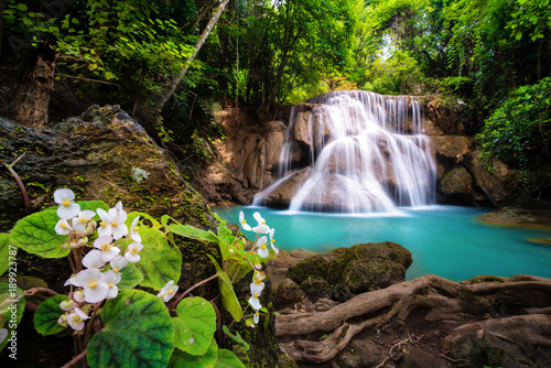 Waterfall in Thailand, called Huay or Huai mae khamin in Kanchanaburi Provience - 189923787