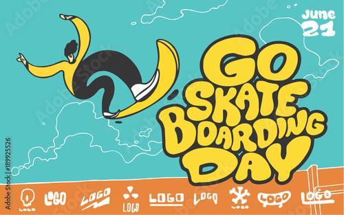 Fotobehang Skateboard Go skateboarding day. Boy jumping on skateboard.