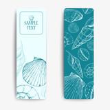 Set of vector banners with seashells. Hand drawn illustrations. Marine set
