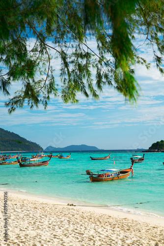 Fotobehang Thailand Many Boats On Beautiful Sea Sand Beach