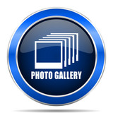 Photo gallery vector icon. Modern design blue silver metallic glossy web and mobile applications button in eps 10 - 189941986