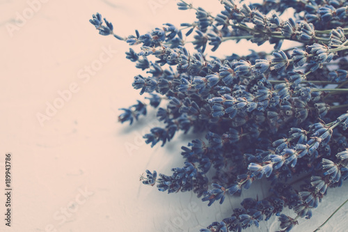 Fotobehang Lavendel Lavender dried flowers macro photo. Toned. Space for text. Spa and relax concept.