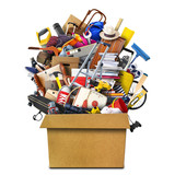Large pile of household things in a box - 189943906