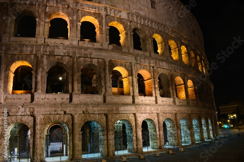 Foto op Canvas Rome night view on Colosseum ancient roman amphitheater