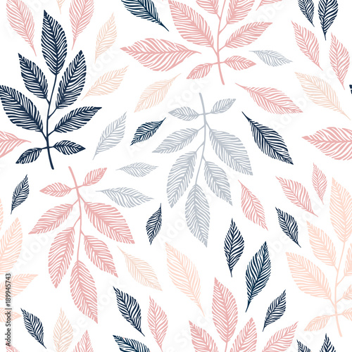 Cotton fabric Seamless pattern with hand drawn branches.