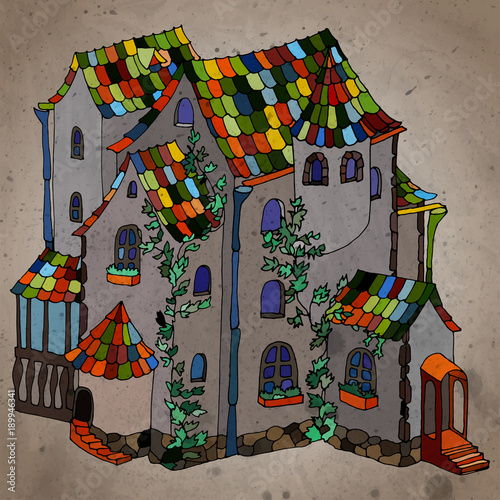 Fairy-tale bright creative house with plants. Vintage style, textured color vector illustration.