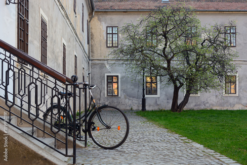 Fotobehang Fiets Bicycle in historic stone built-up area, lonely tree on green lawn