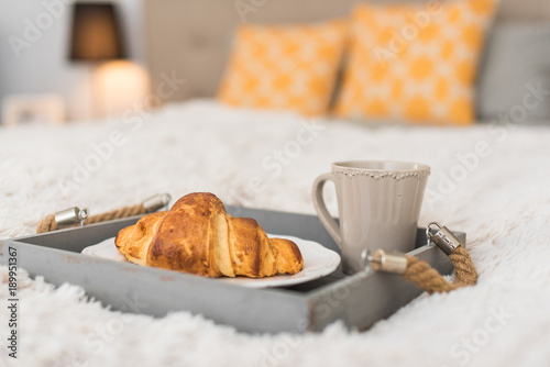 Morning. Breakfast in the bed