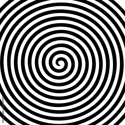Fototapeta Black white round abstract vortex hypnotic spiral wallpaper