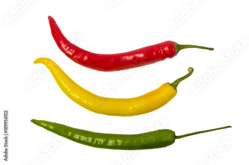 Foto op Aluminium Hot chili peppers Colorful hot chili pepper isolated on white background.