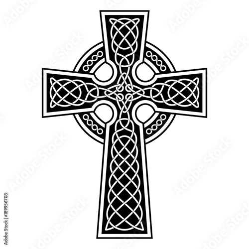 Celtic Cross with white patterns on a black background.