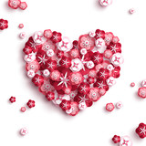 Heart with paper cut flowers