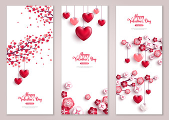 Valentines vertical banners, tree with hearts.