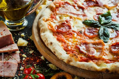 Aluminium Pizzeria Pepperoni pizza. Classical recipe of Itallian pizzerias