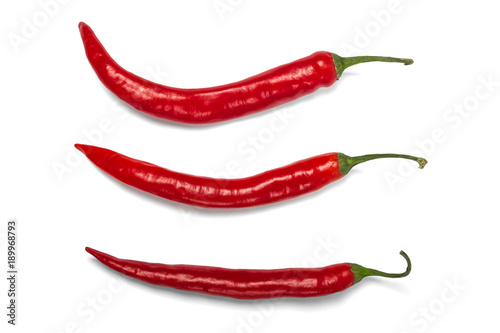 Fotobehang Hot chili peppers Red hot chili pepper isolated on white background.