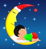 cute little boy sleeping on moon - 189971782