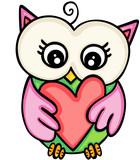 Cute owl girl holding heart