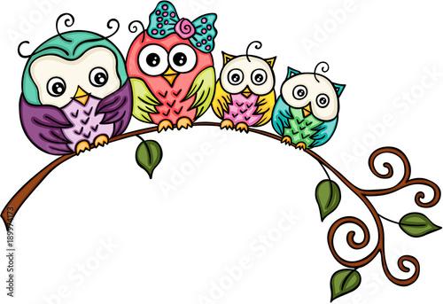 Fotobehang Uilen cartoon Cute owl family on a branch