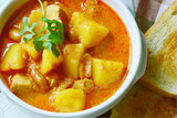 Chicken Mussaman Curry  (Thai  food menu) with toast . Thai Dishes Loved by Foreigners. - 189975792