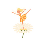 Beautiful blond fairy dancing on daisy flower. Imaginary fairytale character with little magic wings. Girl wearing cure orange dress. Colorful flat vector design
