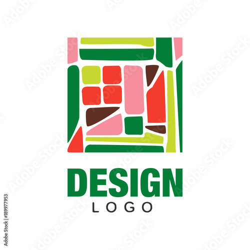 Abstract fruit logo template. Natural food concept. Colorful flat vecrtor design for greengrocery market, vegetarian cafe or product packaging - 189977953