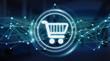 Leinwandbild Motiv Digital shopping icons with connections 3D rendering