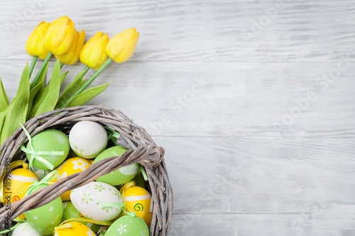 Easter eggs and tulip flowers - 189988951