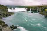 Gorgeous Godafoss waterfalls in north Iceland. Slow shutter speed